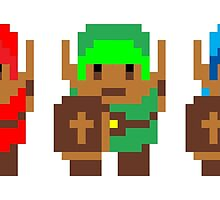 Retro Triforce Heroes by pandamoves
