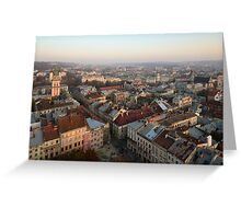 Lviv centre on sunset Greeting Card