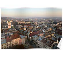 Lviv centre on sunset Poster