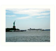 Norweigan Cruise Liner in the Hudson Passes Lady Liberty Art Print