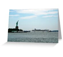 Norweigan Cruise Liner in the Hudson Passes Lady Liberty Greeting Card