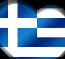 Greece - Greek Flag Heart & Text - Metallic Sticker