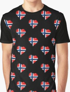 Norwegian Flag - Norway - Heart Graphic T-Shirt
