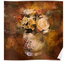 paris autumn gold orange oil painting flowers Poster