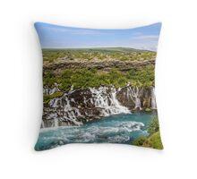 Hraunfossar (Lava-falls) Throw Pillow