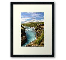 Hvítá og Hraunfossar (White-river and Lava-falls) Framed Print
