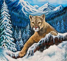 Cougar in The Rocky Mountains by Nadine Johnston
