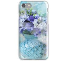 shabby chic french country blue watercolor flowers iPhone Case/Skin