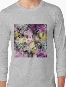 shabby chic french country flowers vintage black floral Long Sleeve T-Shirt