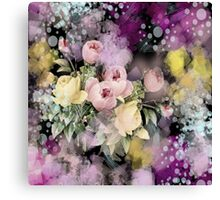 shabby chic french country flowers vintage black floral Canvas Print