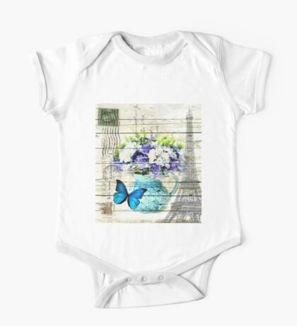 shabby chic blue butterfly flowers vintage paris eiffel tower One Piece - Short Sleeve