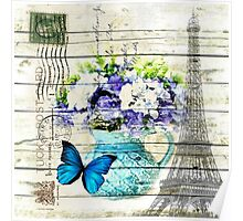 shabby chic blue butterfly flowers vintage paris eiffel tower Poster