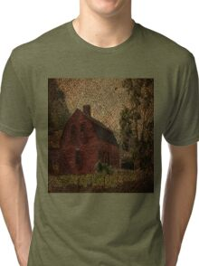 primitive western country rustic burlap farm red barn Tri-blend T-Shirt