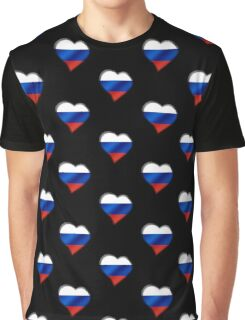 Russian Flag - Russia - Heart Graphic T-Shirt