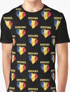 Romania - Romanian Flag Heart & Text - Metallic Graphic T-Shirt