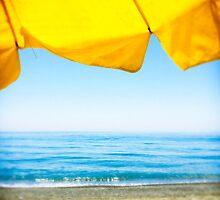 Yellow Sun Shade and Blue Sky by eyeshoot