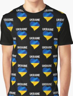Ukraine - Ukrainian Flag Heart & Text - Metallic Graphic T-Shirt