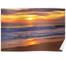 Pacific Surf at Sunset Poster