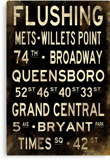"New York ""Flushing"" V1 Distressed subway sign art by Subwaysign"