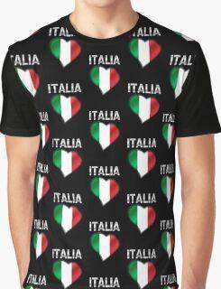Italia - Italian Flag Heart & Text - Metallic Graphic T-Shirt