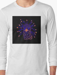 Secretary Bird Blue and Orange Print Long Sleeve T-Shirt