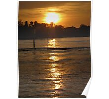 Ocean wake at dusk Poster