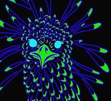Secretary Bird Blue and Green Print by KennedyAnne