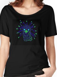 Secretary Bird Blue and Green Print Women's Relaxed Fit T-Shirt