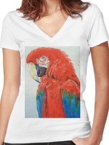 Crimson Macaw Women's Fitted V-Neck T-Shirt