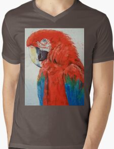 Crimson Macaw Mens V-Neck T-Shirt