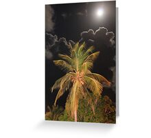 Full Moon over Tropical Palm Greeting Card