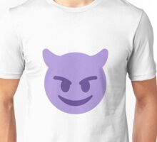 Purple smiling devil with horns emoji Unisex T-Shirt