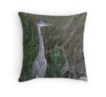 Great Blue Heron on the Milwaukee River Throw Pillow