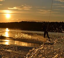 Wakeboarding when sun goes down by lablee26