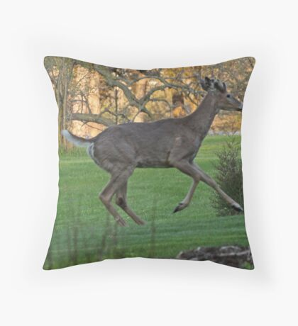 Running White-Tailed Buck Throw Pillow