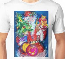 SANTA WITH CHRISTMAS TREE AND GIFTS Unisex T-Shirt