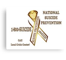 Prevent Suicide Ribbon Banner Canvas Print