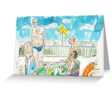 Two Couples at a Rooftop Luncheon in Malé Greeting Card