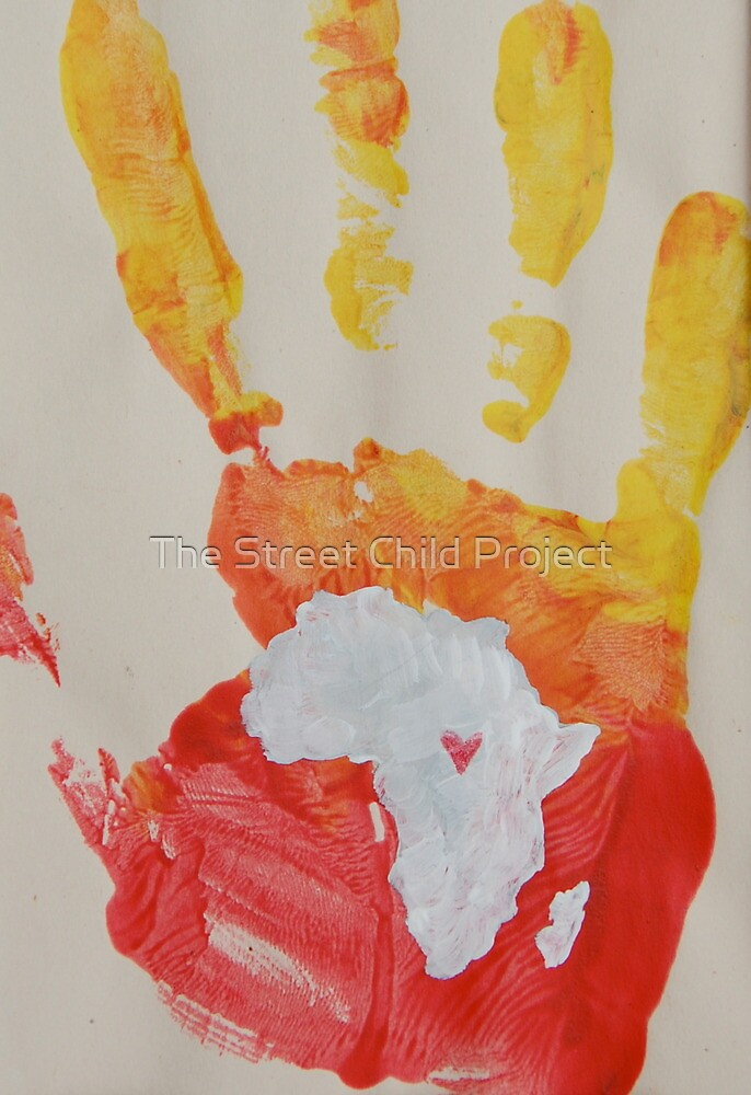 Yellow and Red Handprint by The Street Child Project
