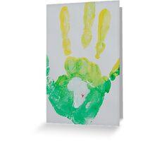 Yellow and Green Handprint Greeting Card