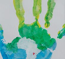 Green and Blue Handprint by The Street Child Project