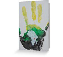 Yellow, Green, and Black Handprint Greeting Card
