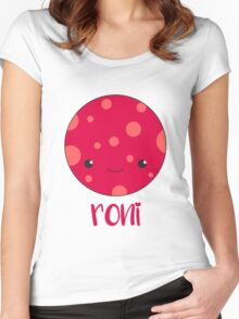 Cute Smiling Pepperoni Women's Fitted Scoop T-Shirt