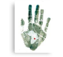 Teal Handprint Canvas Print