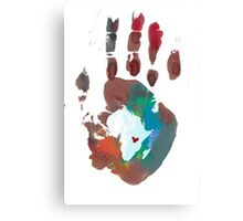 Red and Blue Handprint Canvas Print