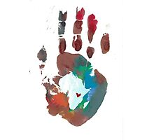 Red and Blue Handprint Photographic Print