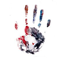 Red and Purple Handprint Photographic Print