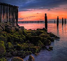 Moss on the rocks, colour in the sky by GeoffSporne