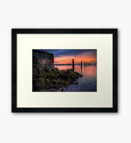 Moss on the rocks, colour in the sky Framed Print