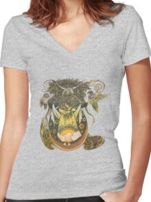 Wheat Women's Fitted V-Neck T-Shirt